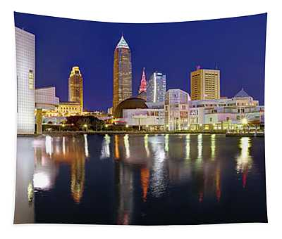Cleveland Skyline At Dusk Rock Roll Hall Fame Tapestry
