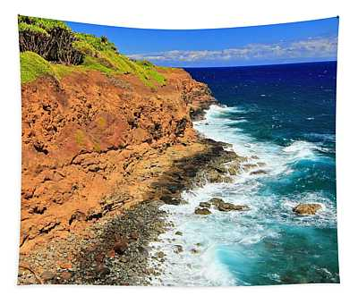 Cliff On Pacific Ocean Tapestry