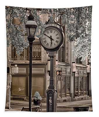 Clock On Street Tapestry