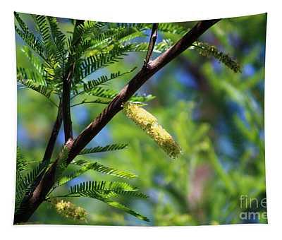 Closeup Of Avocado Green Mesquite Tree Catkins Tapestry