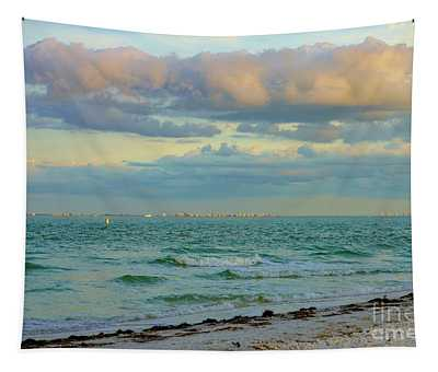 Clouds Over Sanibel Beach Tapestry