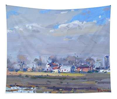 Cloudy Day At The Farm Tapestry
