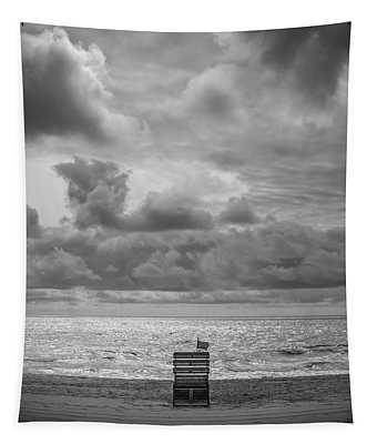 Cloudy Morning Rough Waves Tapestry