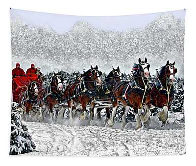 Clydesdales Hitch In Snow Tapestry
