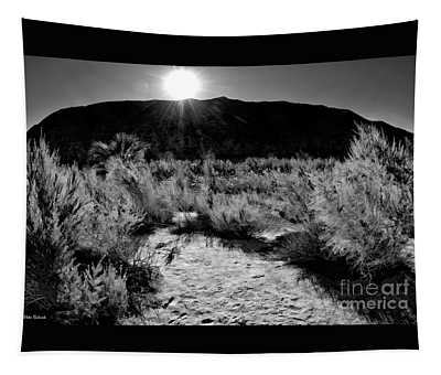 Coachella Valley Preserve Mountain Sunset B And W Tapestry