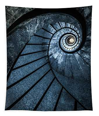 Tapestry featuring the photograph Cold Blue Staircase by Jaroslaw Blaminsky
