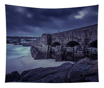 Cold Mood On The Pier Tapestry