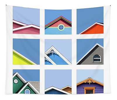Collage Of The Rooftops Of The Magdalen Islands Tapestry