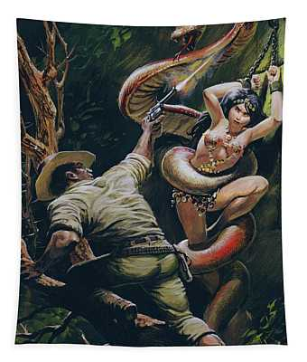 Colonel Percy Fawcett Saving A Beautiful Indian Maiden From A Ritual Sacrifice Tapestry