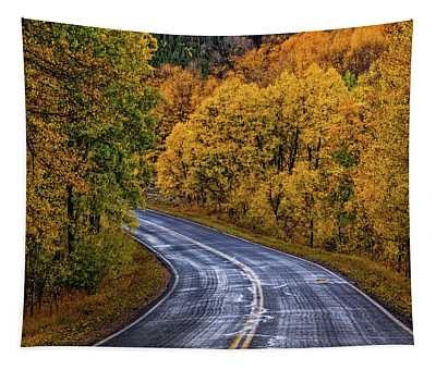 Tapestry featuring the photograph Colorado Fall Country Road by John De Bord