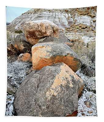 Colorful Boulders Beneath Bentonite Dunes Tapestry