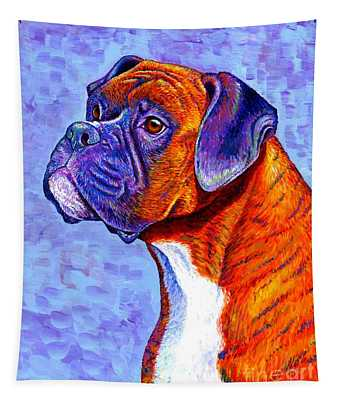 Colorful Brindle Boxer Dog Tapestry