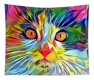 Colorful Calico Cat Tapestry