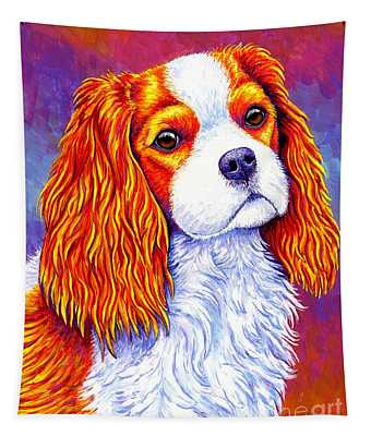 Colorful Cavalier King Charles Spaniel Dog Tapestry
