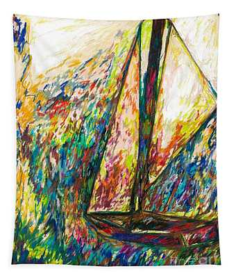 Colorful Day On The Water Tapestry