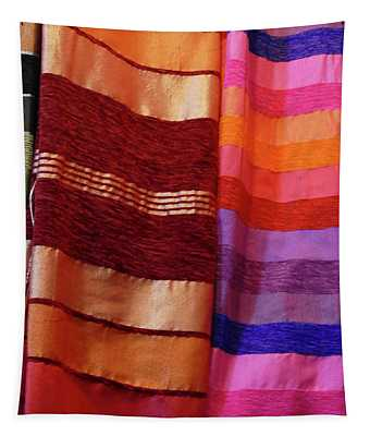 Colorful Fabrics In The Medina Market  Tapestry