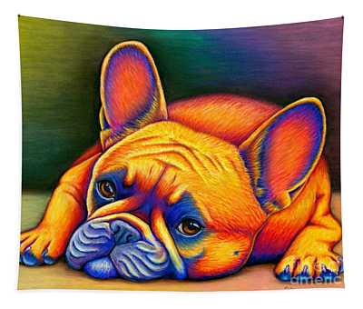 Colorful French Bulldog Tapestry