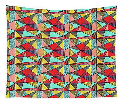 Colorful Geometric Abstract Pattern Tapestry