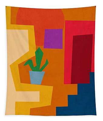 Colorful Geometric House 1- Art By Linda Woods Tapestry