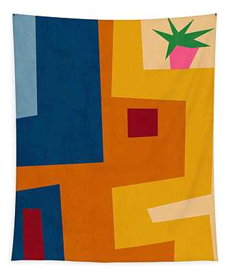 Colorful Geometric House 3- Art By Linda Woods Tapestry