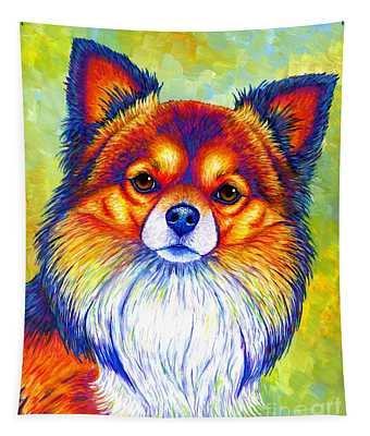 Colorful Long Haired Chihuahua Dog Tapestry