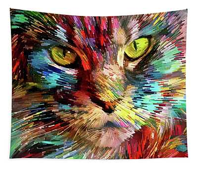 Colorful Maine Coon Cat Tapestry