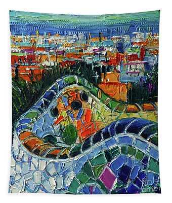 Colorful Mosaic Park Guell Barcelona Impasto Palette Knife Stylized Cityscape Tapestry