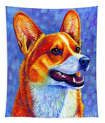 Colorful Pembroke Welsh Corgi Dog Tapestry
