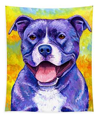 Colorful Pitbull Terrier Dog Tapestry