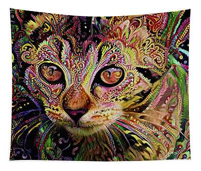 Colorful Psychedelic Tabby Kitten Art Tapestry