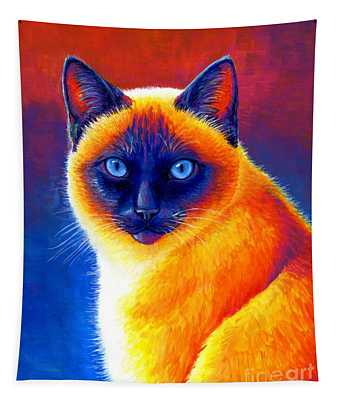 Colorful Siamese Cat Tapestry