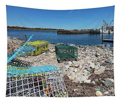 Colorful Traps By The Cape Cod Canal Tapestry
