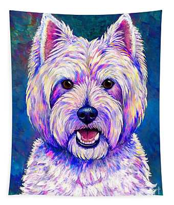 Colorful West Highland White Terrier Blue Background Tapestry