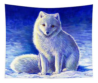 Colorful Winter Arctic Fox Tapestry
