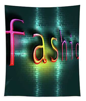 Colorful Word Fashion On Blue Reflecting Metallic Background. Tapestry