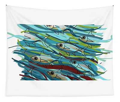 Coloured Water Fish - Digital Change 2 Tapestry
