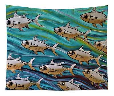 Coloured Water Fish Tapestry