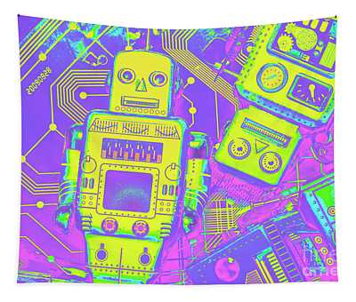 Comic Circuitry Robots Tapestry