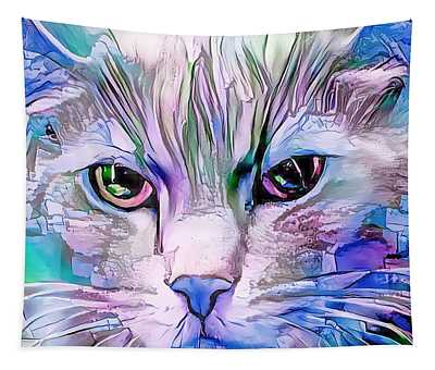 Cool Blue Cat Tapestry