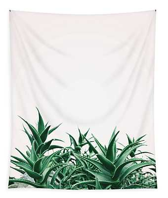 Cool Minimal Nature Design With Aloe Vera Plant In Pastel And Gr Tapestry