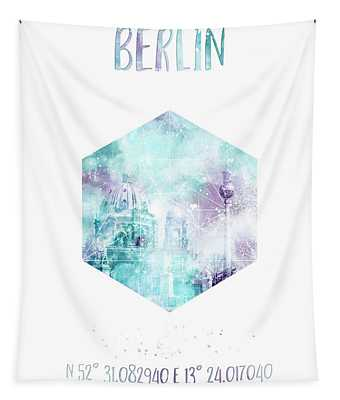 Coordinates Berlin Cathedral And Television Tower - Jazzy Watercolor Tapestry