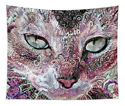 Coral The Abstract Cat Tapestry