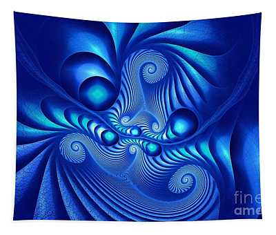 Corinthian Fractalation In Blue Tapestry