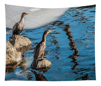 Cormorants On The Rocks Tapestry