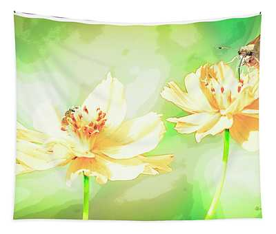 Cosmos Flowers, Bud, Butterfly, Digital Painting Tapestry