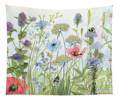 Cottage Flowers And Bees Tapestry