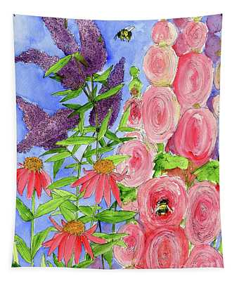 Cottage Garden Hollyhock Bees Blue Skie Tapestry