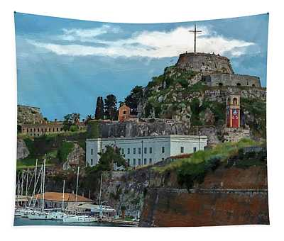 Coufu Island Harbor And Fortress Tapestry