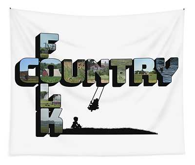 Country Folk Big Letter Graphic Art Tapestry