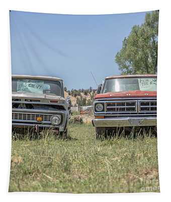Couple Of Old Vintage Pickup Trucks Tapestry